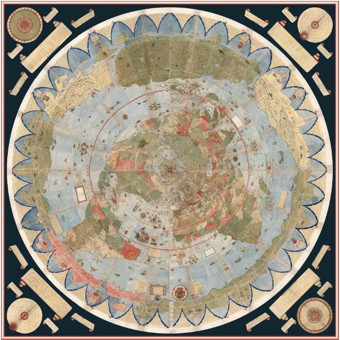 Mappa antica che riporta l'antartide abitato